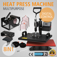 "Wholesale Sublimation Machines - 8IN1 HEAT PRESS TRANSFER MULTIFUNCTIONAL T-SHIRT SUBLIMATION DIGITAL TIMER PRINTING MACHINE 15""X12"" PLATEN LATTE MUG COFFEE CUP COATED HANDL"