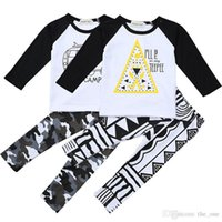 Wholesale Boys Camo Long Sleeve - New INS Baby Boys clothing T shirt Long sleeve + Pants camo Kids Toddler Casual Suits Spring autumn Children Outfits Clothes set Gift