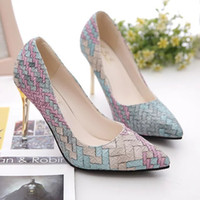 Wholesale pump weaves - Spring and autumn women dress shoes Pumps for party and office Ladies stiletto heels weave patchwork shoes