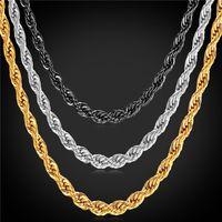 altın bükülmüş zincirler erkekler için toptan satış-U7 Altın Kaplama Büküm Zincir Kolye Bilezik Moda 18 K Altın Kaplama / Paslanmaz Çelik Altın Zincirler Erkekler için Mükemmel Kolyeler Hediyeler GN2173
