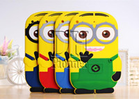 Wholesale Despicable Ipad Mini - 3D Silicone Cute Minions Despicable Me2 Case Soft Cartoon Back Cover for Ipad mini 2 3 4 5 air DHL