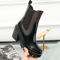 Wholesale Womens Flower High Heel - Fashion New Womens Knight Boots Cowboy Shoes Platform Ankle High Heel Boots Genuine Leather Designer Luxury Winter Black Brown Shoes SZ35-40
