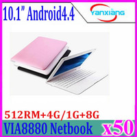 Novo Mini baratos Android laptop 10 '' VIA8880 Dual Core CPU Android 4.4 Wifi Netbook Notebook Laptop 512 4GB HDMI Webcam 50pcs ZY-BJ-3