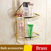 Wholesale Gold Wall Hooks - Hots Gold-plated Bathroom Triangle Basket Wall Shelf with Hook Thicken Toilet Corner Dual Holder Brass Suit Burshed Hardware Accessories Set