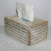 Wholesale Crystal Tissue Box - Wholesale- 100% Handmade Luxury Clear Crystal Rhinestone Tissue Holder Napkins Box Gold Sliver For Selection Car Bedroom Office Best Gifts