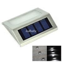 luces solares para escaleras al por mayor-Energía solar 2 LEDs Al aire libre a prueba de agua Jardín Camino Escaleras Lámpara Luz Ahorro de energía LED Lámpara de pared solar Blanco cálido Frío blanco