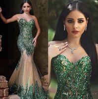 vestidos de fiesta árabe al por mayor-Estilo árabe Esmeralda Verde Sirena Vestidos de noche Sexy Sheer Cuello redondo Lentejuelas de mano Elegante dijo Mhamad Largos vestidos de fiesta Vestido de fiesta