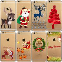 Wholesale Christmas Iphone 4s Covers - Christmas Festive Santa Reindeer TPU Clear Transparent Case for iPhone X 10 8 7 plus 6 6s Plus 5S 5C 4S Cover