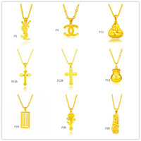 Wholesale Gold Locket China - Wholesale fashion 24k gold pendant (not contain chain )9 pieces a lot mixed style, cross abacus Fukubukuro yellow gold pendant DFMKP9