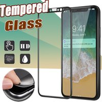 Wholesale Hd Cover Iphone - Glossy Carbon Fiber 3D Curved Soft EdgeTempered Glass Screen Protector 9H Full Cover HD Film Guard For iPhone X 8 7 Plus 6 6S Samsung S8 S7