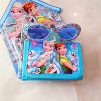 Wholesale Spiderman Wallets - Kids cartoon wallet sunglasses 2in1 kit boy girl the frozen anna elsa spiderman princess sofia purse pouch sun glasses set free shipping