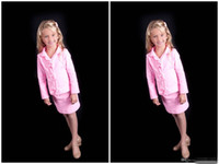 Wholesale Custom Pageant Suit Children - 2016 New Hot Pink Little Girls Pageant Suits Short Three Button Custom Made Children Outfits Girl's Pageant DressesLong Sleeve