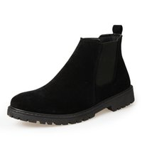 Wholesale Low Ankle Boots For Men - Suede Leather 2017 Autumn Winter Shoes Men Chelsea Boots Fashion Men's Boots Male Brand Ankle Boots Warm for Cold Winter