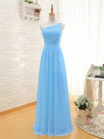 Wholesale Turquoise Chiffon Color - vestido de festa2016 new one shoulder chiffon A LineThree Long Girls yellow turquoise red watermelon red mint green cheap Bridesmaid Dresses