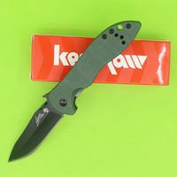 bıçak ağzı toptan satış-KERSHAW EM-CQC-5K Zeytin Yeşil G-10 Siyah Blade DALGA bıçak KAI 6074OLBLK EDC Cep Katlanır bıçak Kağıt kutusu paketi ile Yeni