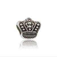 Wholesale Cheap Pandora Diy Bracelets - 30pc European Silver Plated Big Hole Charms Spacer Loose Beads Fit Pandora Bracelets 925 Jewelry Crown for Sale Girls Mom Handmade Diy Cheap