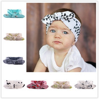 Wholesale wholesale fahion - Baby Girl Headbands and Bows For Newborn Fahion Kids holiday Cotton headbands Children boutique hair accessories Bunny Ear Hairbands KHA116