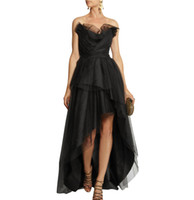 Wholesale Strapless Little Bride Dresses - 2017 Black High Low Prom Party Gowns Ruffled Maid of The Bride Dresses Formal Evening Pageant Gowns Custom Made SA3