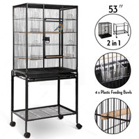 "Wholesale Large Metal Bird Cage - 53"" Large Bird Parrot Pet Cage Chinchilla Cockatiel Conure House w Stand 4 Cups"