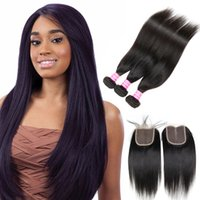 Cozy Brazilian Virgin Hair Bundles com fechamento Unprocessed Straight Human Hair Weave 3 Bundle Deals e Lace Top Closure Parte livre / média