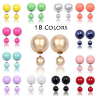 ingrosso orecchini a bolle-100 accoppiamenti colorati perla coltivata celebrità gioielli bolla doppia perla perline spina orecchini per donna signora ragazze orecchini perni pin 2016