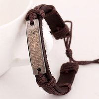 Wholesale Scripture Charms - Hot sale Fashion Scripture Bracelet Leather Alloy Handmade Retro Jewelry Charm Bracelets Christmas Gift free shipping