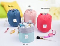 Wholesale Pvc Cosmetic Bags - New Korean elegant large capacity Barrel Shaped Nylon Wash Organizer Storage Travel Dresser Pouch Cosmetic Makeup Bag For Women