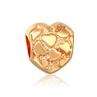perlas de vidrio de murano chapado en oro al por mayor-Granos del corazón Chapado en oro Europa Murano Glass Beads Fit Europa pandora encantos de la joyería DIY pulseras colgantes