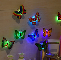 Wholesale Sticker Wall Plastic - Wholesale- 10Pcs 3D Wall Stickers Butterfly LED Lights Wall Stickers Home Decor home decor living room vinilos paredes