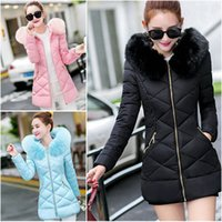 Wholesale Womens Collar Top Xs - 2017 new TOP Real Fashion Womens Winter Coat Jacket Down Fur Collar Warm Long Hooded Outwear XS-XL
