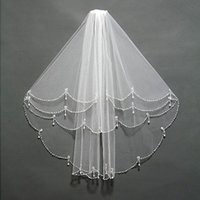 Wholesale Embellished Veil - Fabulous 2016 New Arrival Bridal Veils Two Layers Beading Crystals Pearls Embellished Short Tulle For Brides Top Quality with Comb