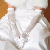 Wholesale Elegant Wedding Gloves - Elegant In Stock Wholesale Or Retail Free Size White Finger Opera Long Bridal Gloves For Wedding