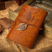 cadernos de revistas de couro vintage venda por atacado-Atacado-Vintage marrom escuro PU capa de couro solto Leaf Blank Notebook Diário Diário Presente