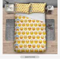 Compra Stampe Complete-BeddingOutlet Emoji Bedding Set Copriletto Carino e Moda per i bambini stampati biancheria da letto 3Pcs Twin Full King Kingspreads TOP1996