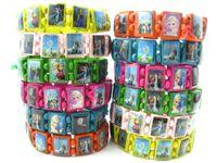 Wholesale Kid Stretch Bracelet Wholesale - Brand New 24pcs mixed lots Kids Children's Cute Cartoon Wooden Stretch Cuff Bracelets Party Gift wholesale lot