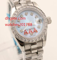 Wholesale Womens Watch Clasp - luxury Automatic 2813 movement lady's Diamonds Blue Dial 26mm Stainless Folding Clasp womens sapphire Mechanical watch