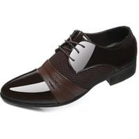 boy 6.5 ayakkabı toptan satış-2017 SıCAK Büyük ABD boyutu 6.5-11 adam elbise ayakkabı Düz Ayakkabı Lüks erkek Iş Oxfords Rahat Ayakkabı Siyah / Kahverengi Deri Derby Ayakkabı