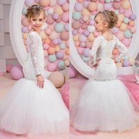Wholesale Kids Pink Bridesmaid Gown - Sexy Mermaid Lace Flower Girls Dresses With Long Sleeves Junior Bridesmaid Dress Tulle Sequins Jewel Kids Birthday Party Gowns for Weddings