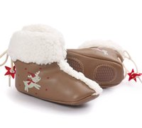 2016 New Cute Christmas Lovely Newborn Baby 0-2 ans First Walkers Boot Enfant Toddler Boys Girls Kids Chaussures à chaussures en caoutchouc souple