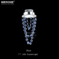 Wholesale Crystal Black Chandelier Lamp - LED Crystal hanging lamp 3 watt Small Red Blue Black Crystal chandelier Light for Aisle Hallway corridor Staircase Light lustre