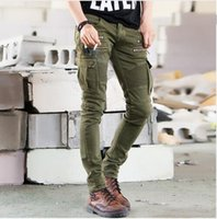 Wholesale Corduroy Jeans - 2017 Green Designer Men Black Biker Jeans elastic Mens Slim Fit Stretch Skinny Pants Denim Biker Jeans Runway hight quality free shipping