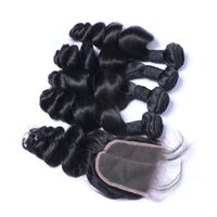 Wholesale Soft Wave Brazilian Hair Weave - 7A High Quality Brazilian Indian Malaysian PeruvianLoose Wave with 4*4 Loose Wave closure No Tangle No Shedding Soft Full Free Shipping DHL