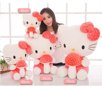 Wholesale hugging pillows - Cartoon Cat Plush Toys Cute Hug Mushroom Cat Pillow Dolls For Kids Baby Girl Gifts Pink Color Doll