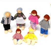 Wholesale Mini Kid Girl Dresses - Kawaii Mini Wooden Toy Dollhouse Family Member Dolls Set Figures Dressed Characters Children Kids Girl Playing Doll