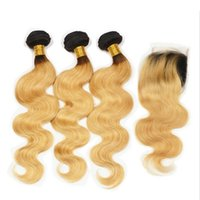 Wholesale two tone wavy weave for sale - Ombre Hair Extensions b Honey Blonde Ombre Dark Roots Human Hair With Lace Closure Two Tone Body Wave Wavy Hair Weave