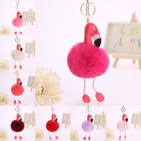 Wholesale flamingo jewelry - 11 Styles Cute Flamingo Fur Ball Pom Pom Keychain for Bag Cellphone Car Key Pendant Interchangeable Trendy Jewelry Fluffy Keychain B235S
