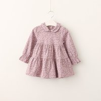 Wholesale Tutus For Fall - Everweekend Girls Fall Floral Ruffles Kids Sweet Dress Fashion Flowers Autumn Baby Dress Clothing for Children Girls Wholesale