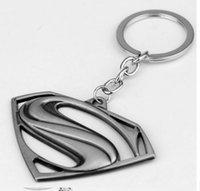 Wholesale Black Metal Fans - Superman Keychain Superhero S Logo Zinc Alloy Keyring Gold Silver Black Color Key Chain For Fans Fashion Jewelry Accessories