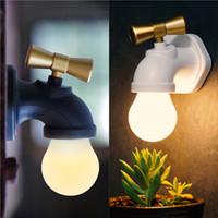 lámpara led recargable de regalo al por mayor-Tipo de grifo creativo Control de voz inteligente LED lámpara de noche USB recargable Tap Luz de la noche Home Hallway iluminación regalo de los niños