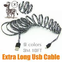 Wholesale Nylon For Tablet - 2M 6FT 3M 10FT Micro USB Cable Charger Data Sync Nylon USB Cable For Android Smart Phone for tablet PC